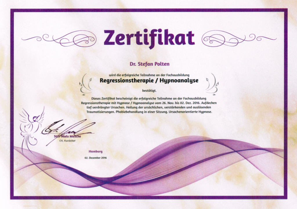 Zertifikat Regression/Hypnoanalyse