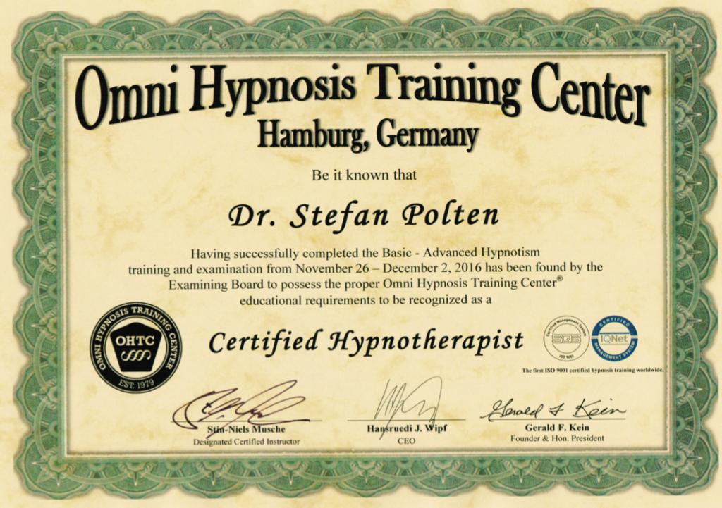Zertifikat OMNI-Hypnoseausbildung