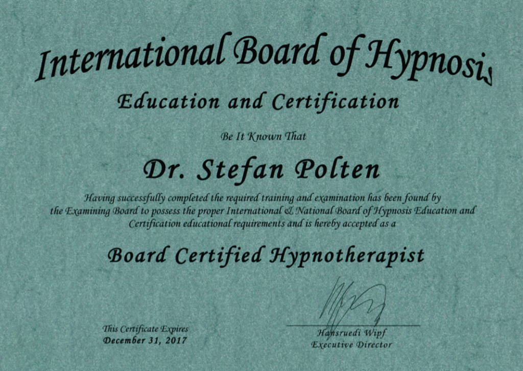Zertifikat International Board of Hypnosis