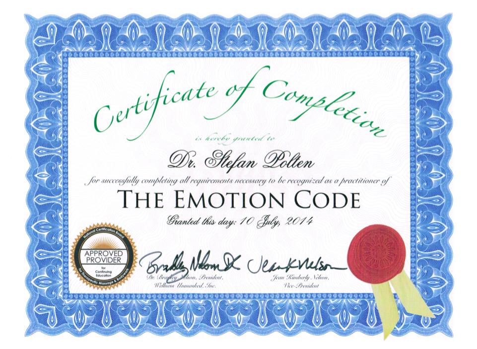 Zertifikat Certified EmotionCode Practitioner