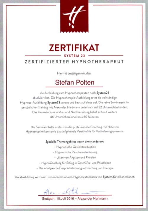 Zertifikat Hypnosetherapie System23