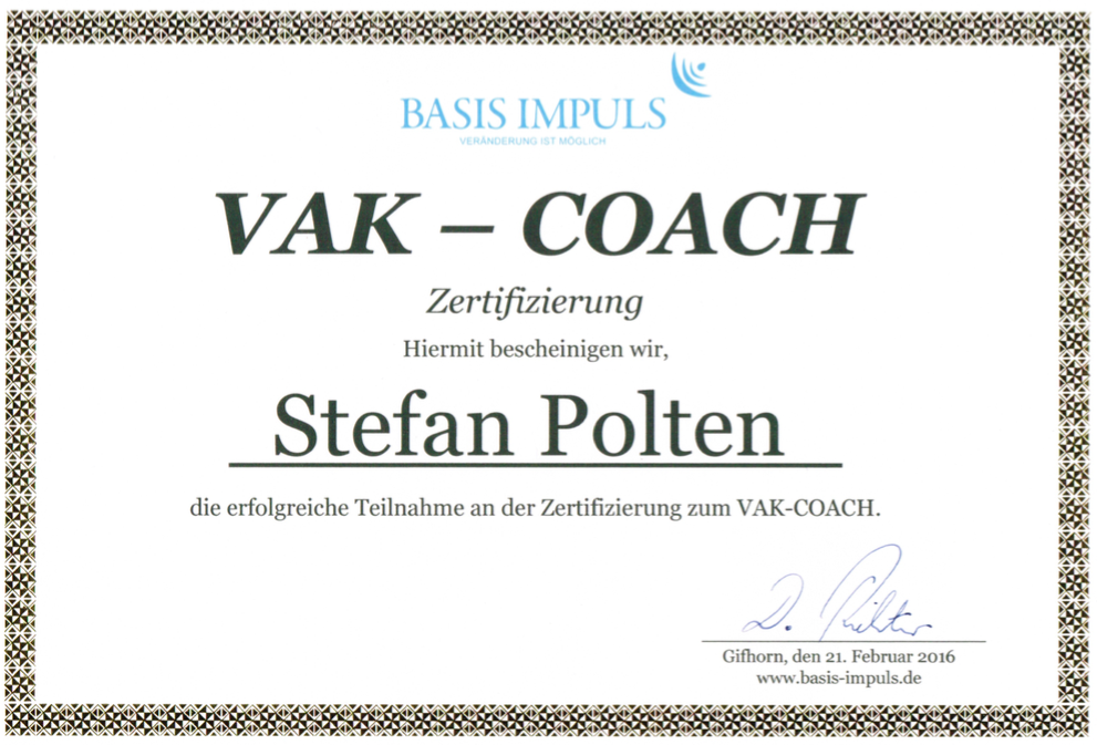 Zertifikat VAK-Coach