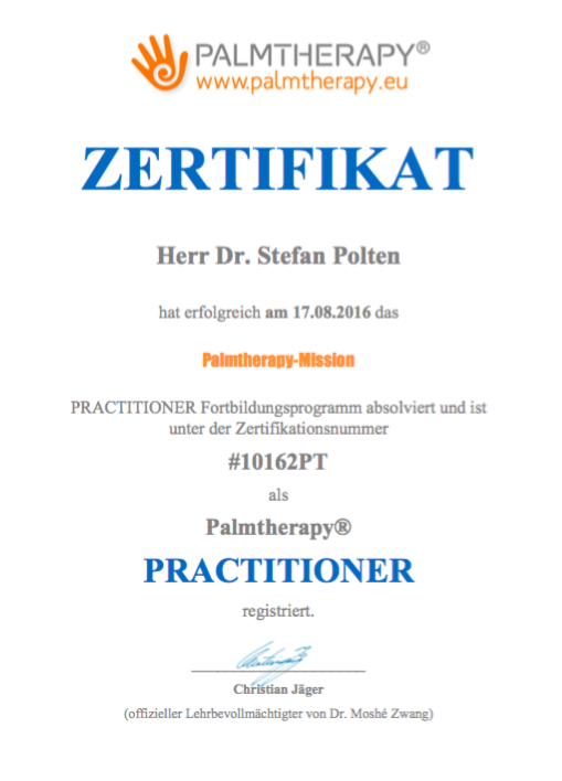 Zertifikat Palmtherapy Practitioner