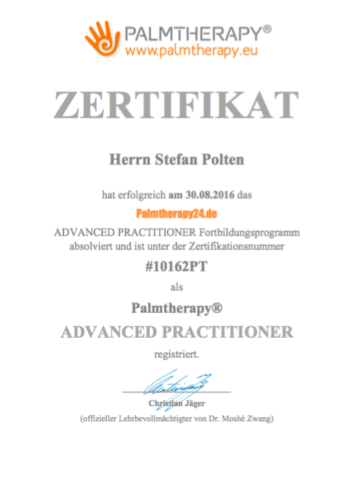 Zertifikat Palmtherapy Advanced Practitioner