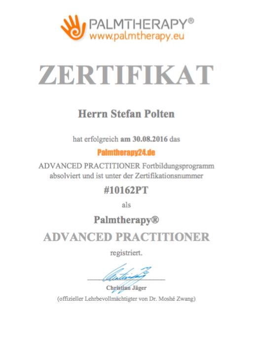 Zertifikat Palmtherapy Advanced Practitioner