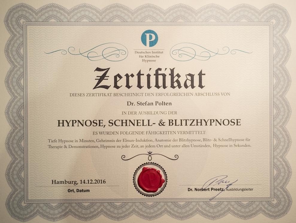Zertifikat Preetzisions-Hypnose Blitzhypnose
