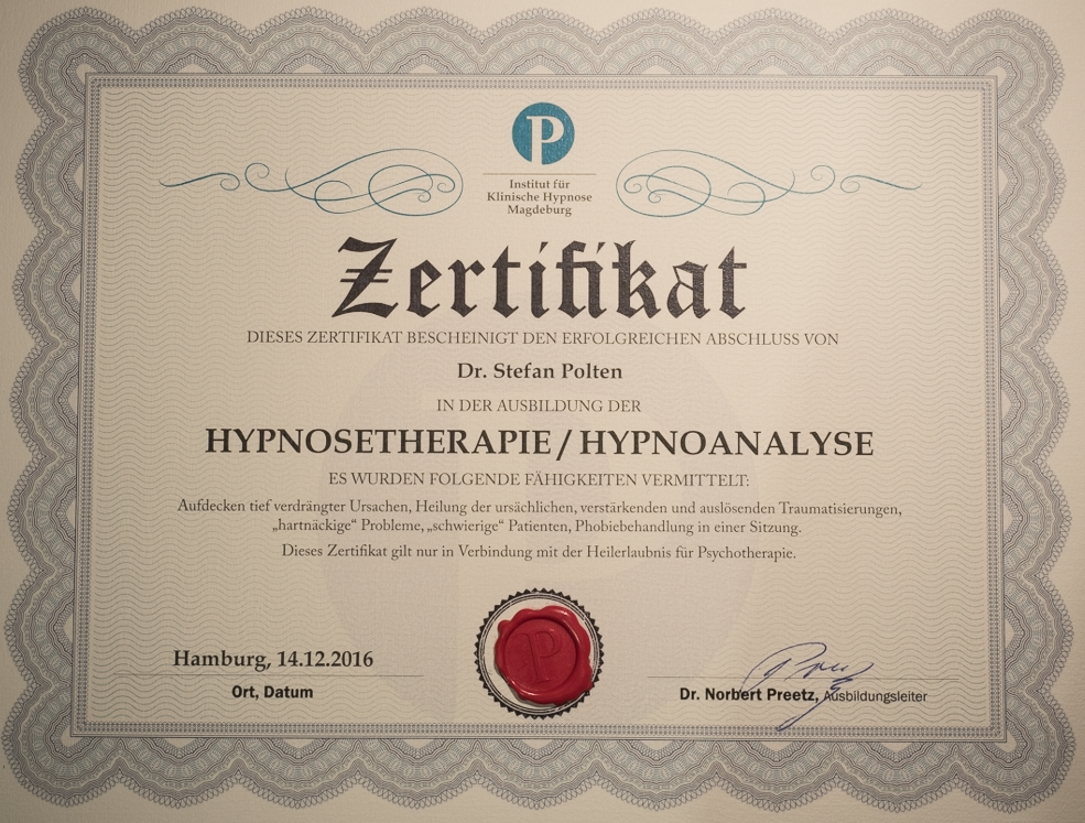 Zertifikat Preetzisions-Hypnose Hynoanalyse