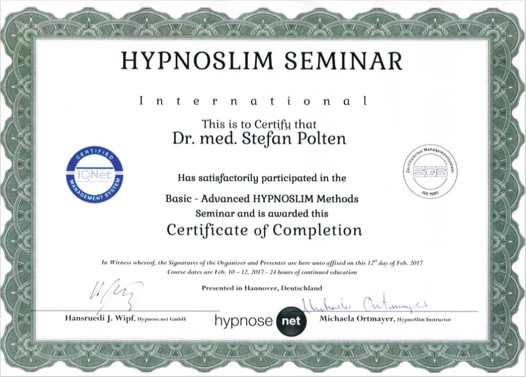Zertifikat HypnoSlim®