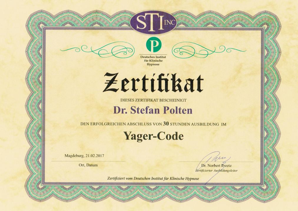 Zertifikat Yager-Code