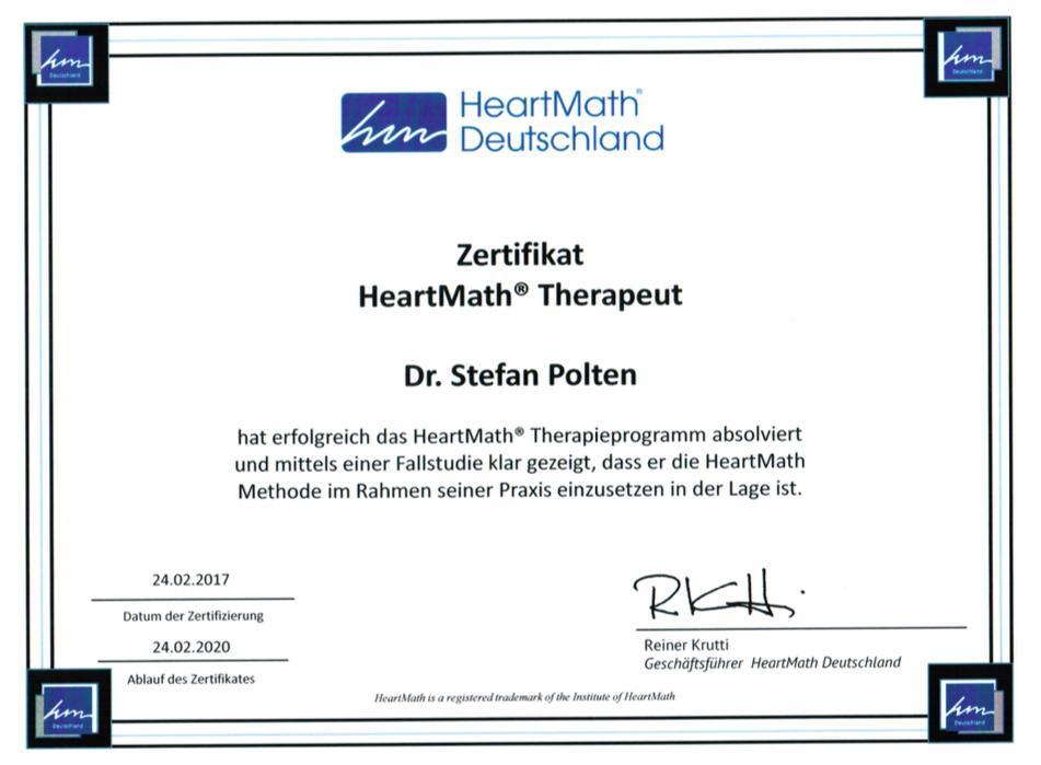 Zertifikat HeartMath-Therapeut