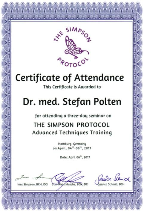 Zertifikat The Simpson Protocol Advanced
