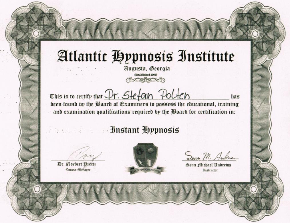 Zertifikat Instant Hypnosis