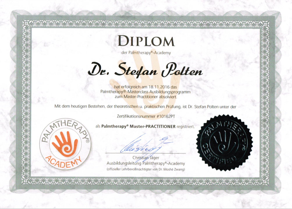 Zertifikat Palmtherapy® Master-Practitioner