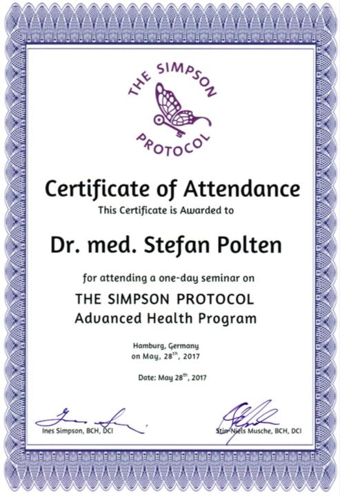 Zertifikat The Simpson Protocol Health Program