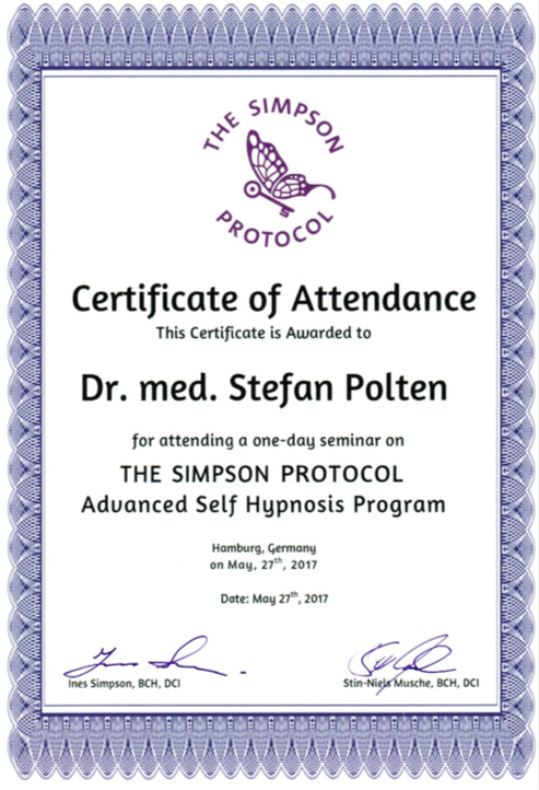 Zertifikat The Simpson Protocol Self Hypnosis