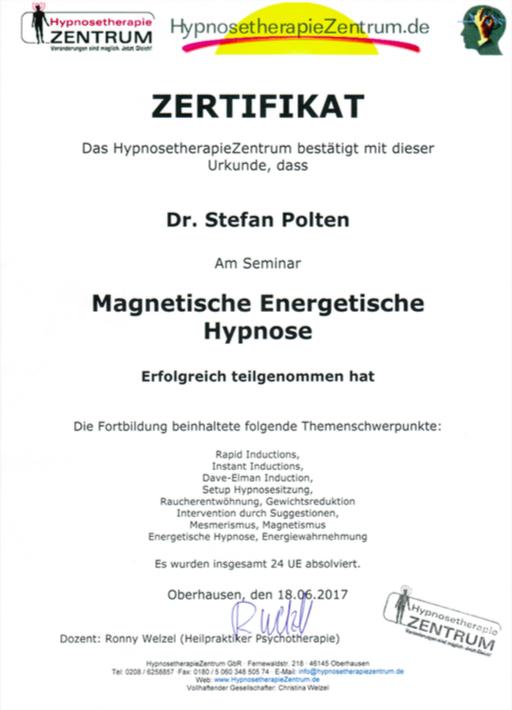 Zertifikat Magnetische & energetische Hypnose