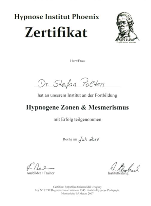 Zertifikat Hypnosen Zonen & Mesmerismus