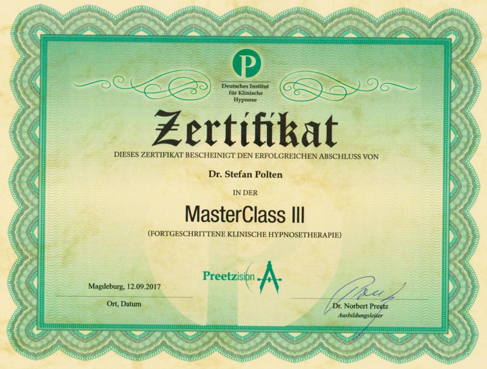 Zertifikat MasterClass 3
