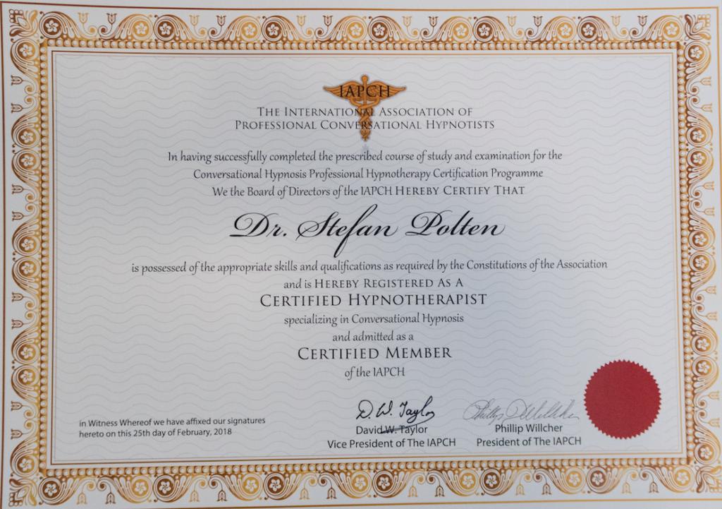 Zertifikat Professionelle Gesprächshypnose IAPCH