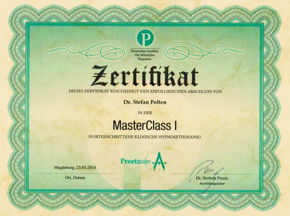 Zertifikat MasterClass 1