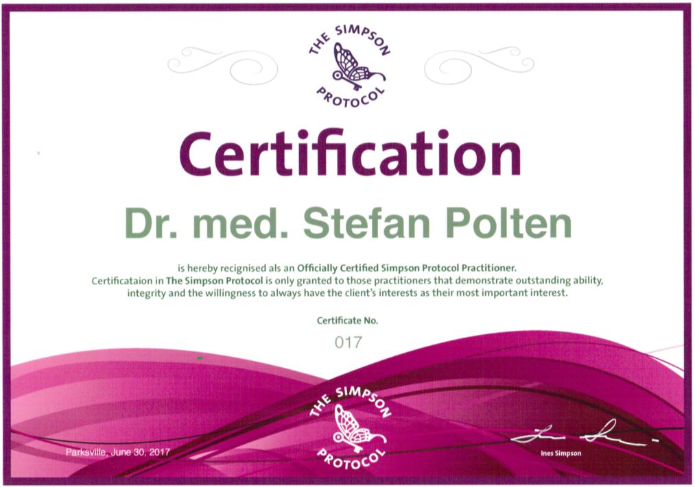 Zertifikat Certified Simpson Protocol Practitioner