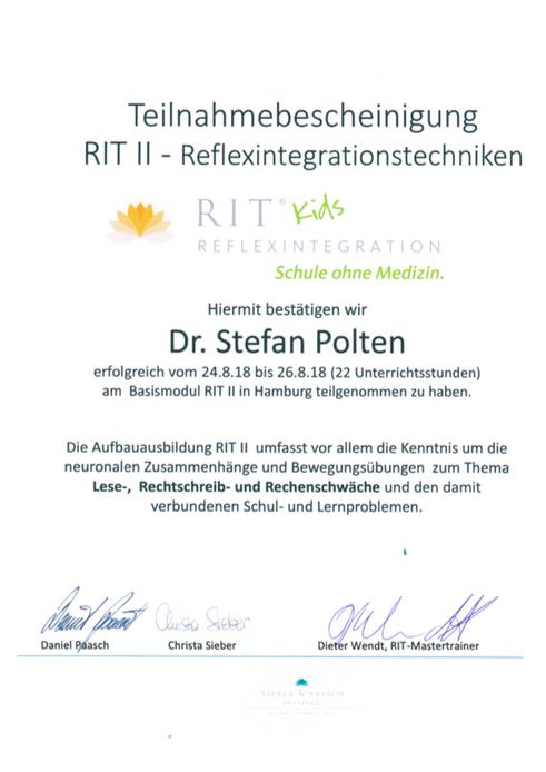 Zertifikat RIT 2 - Reflexintegration