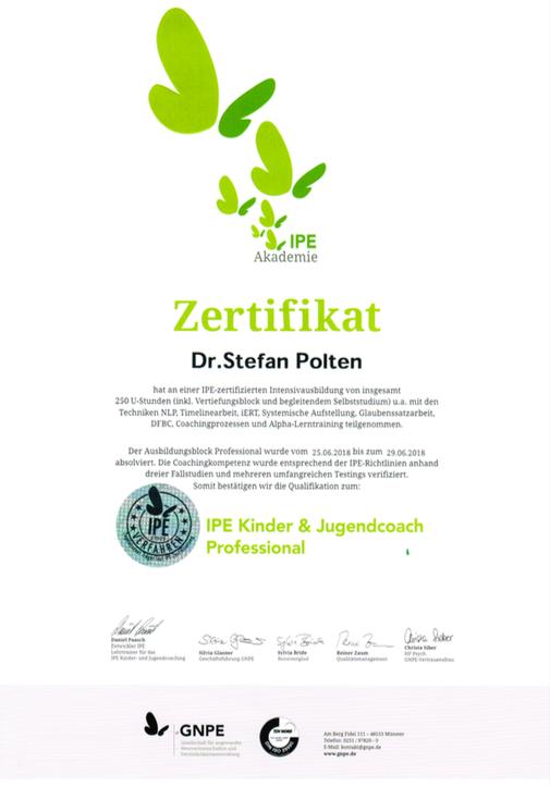 Zertifikat IPE Kinder- & Jugendcoach Professionel