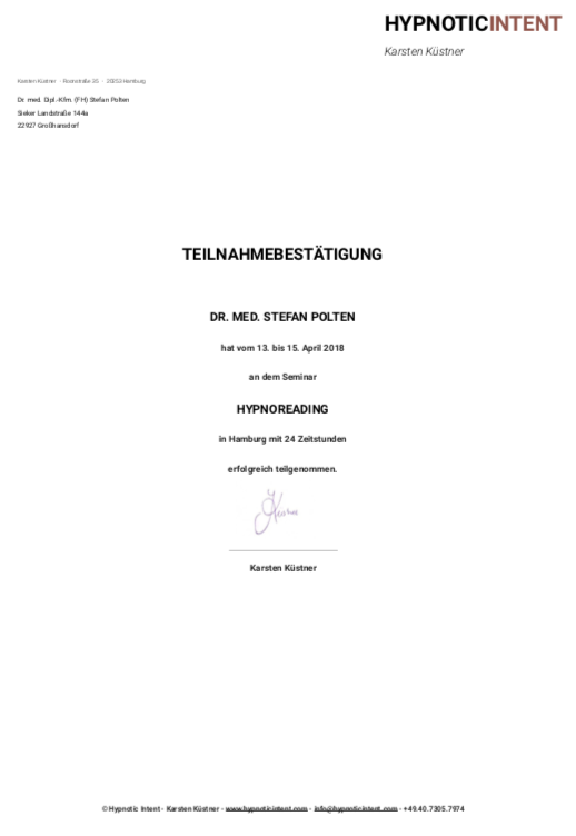 Zertifikat HypnoReading