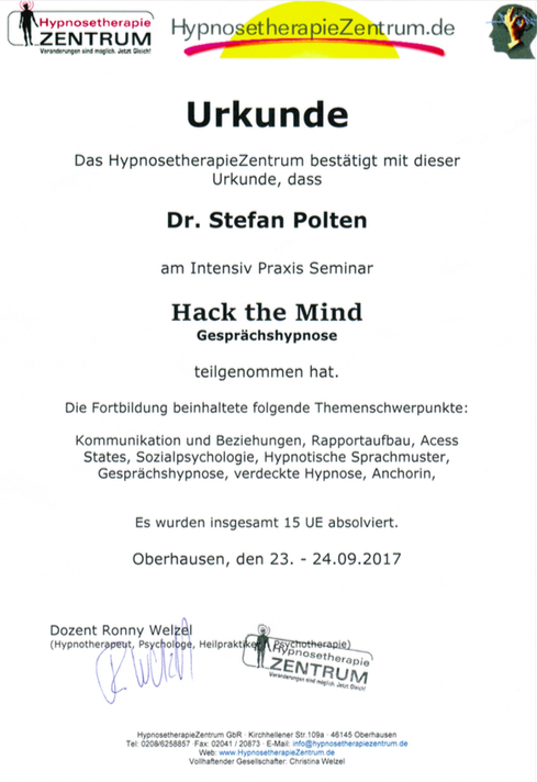 Urkunde Hack the Mind