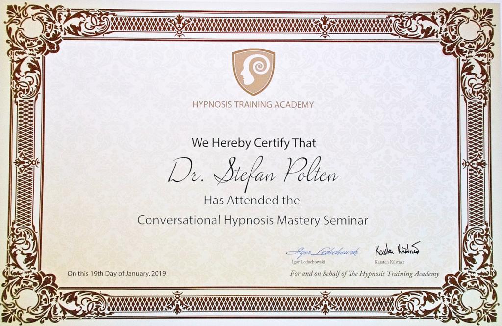 Zertifikat Conversational Hypnosis Mastery