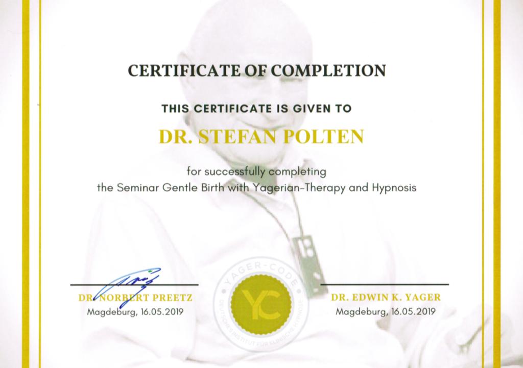 Zertifikat Sanfte Geburt mit Yager-Code und Hypnose