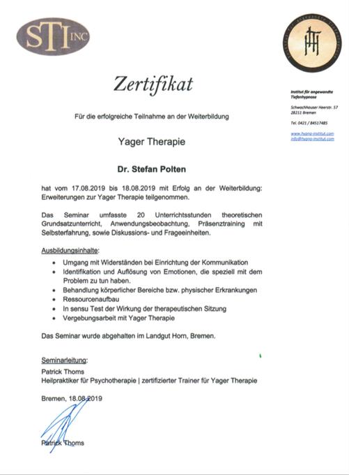 Zertifikat Weiterbildung Yager Therapie