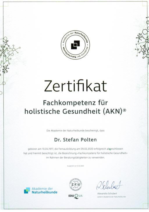 Zertifikat Fachkompetenz für holistische Gesundheit