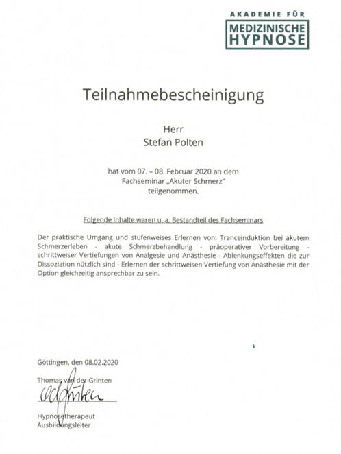 """Zertifikat Fachseminar """"Akuter Schmerz"""""""