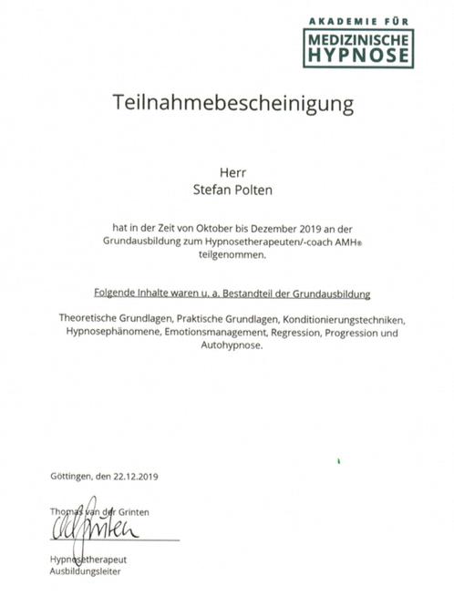 Zertifikat Grundausbildung Hypnosetherapeut AMH