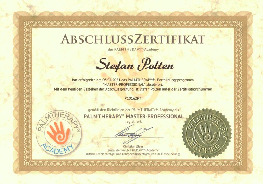 Zertifikat PALMTHERAPY® Master-Professional
